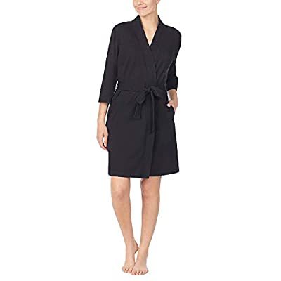 Nautica Women's 100% Cotton Jersey Robe, Black, 1X by Nautica