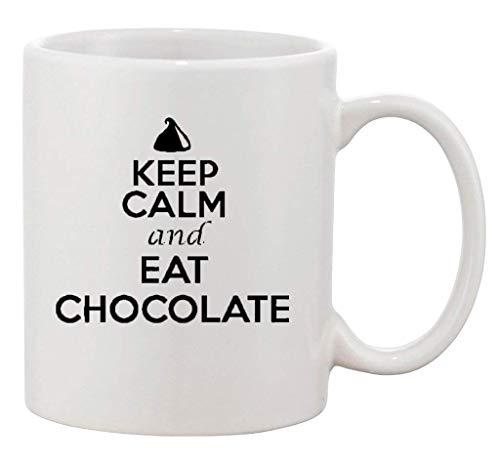 Houd kalm en eet chocolade Choco snoepjes desserts grappige keramische witte koffie 11 Oz mok