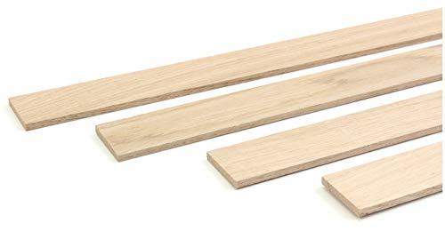 wodewa Holzleiste Wandleiste Eiche Natur 1m Abschlussleiste Holz 30x4mm Zierleiste für Wandverkleidung Decke Boden Abdeckleiste DIY Basteln