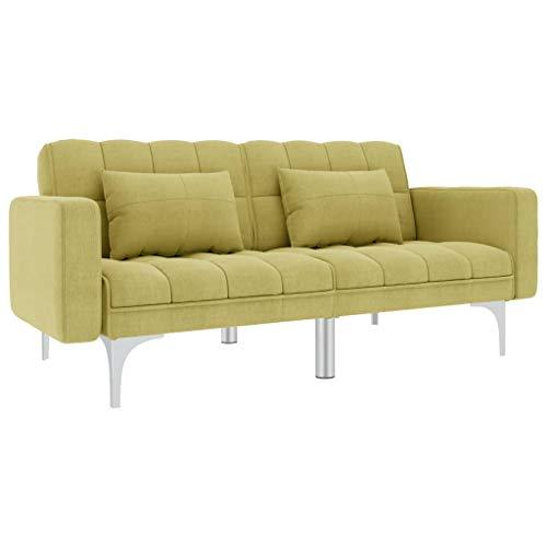 UnfadeMemory Schlafsofa Stoff Schlafcouch Bettsofa 2-Sitzer Couch mit 2 Kissen Stoffbezug + Metallbeine Sofa mit Schlaffunktion 175,5 x 84 x 79,5 cm (Grün)