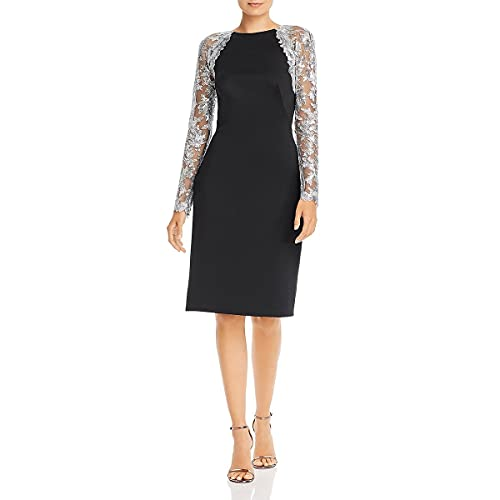 Tadashi Shoji Women's L/S Crepe Dress W/Sequin Sleeves, Black/Silver, M