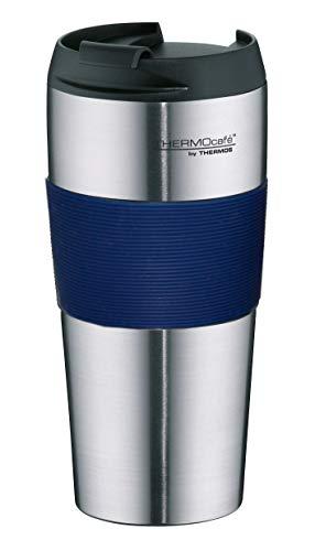 ThermoCafé Thermobecher ThermoPro, Kaffeebecher to go Edelstahl blau 400ml, Isolierbecher mit Schiebeverschluss, Becher spülmaschinenfest 4056.256.040, Coffee to Go 4 Stunden heiß, BPA-Free