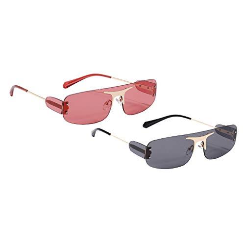 Colcolo 2X Gafas de Sol Sin Montura para Mujer Retro Clásico Rectángulo Lente Tintada Gafas UV 400