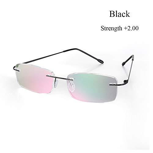 Gezondheidszorg Rechthoekige bril zonder montuur Ultralichte leesbril Geheugen Titanium verziend bril (sterkte 2.00, zwart)