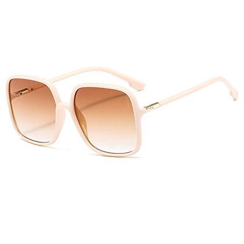 Gafas de sol para hombres y mujeres, gafas de sol con personalidad, montura grande, gafas cuadradas, como se muestra, color crema, blanco