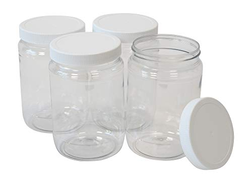 CSBD 32 Oz Clear Plastic Mason Jars With Ribbed Liner Screw On Lids, Wide Mouth, ECO, BPA Free, PET Plastic, Made In USA, Bulk Storage Containers, 4 Pack (32 Ounces)