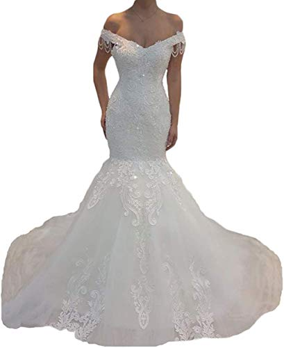Off The Shoulder Mermaid Wedding Dresses for Bride with Detachable Train Crystal Beaded Lace Bridal Gown Ivory