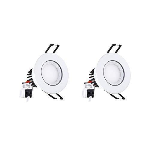 2er Pack Downlight Bad Deckenleuchte 3W Einbaustrahler Kein Flimmern Beleuchtungskörper Bildanzeige Akzentlampe Brandschutz Energiesparende LED-Waschbeleuchtung (Color : White light)