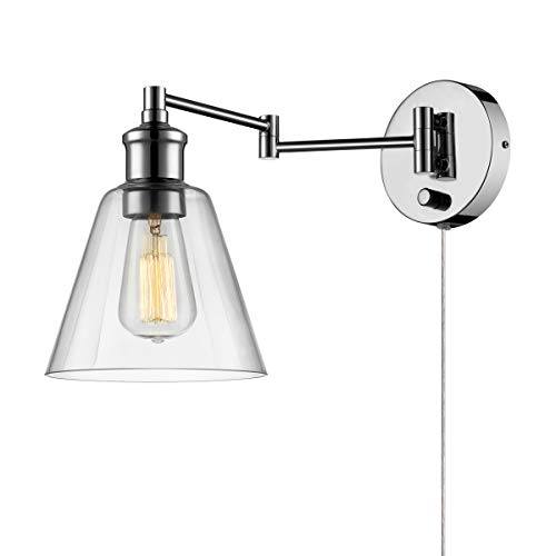 Globe Electric LeClair 1-Light Plug-In or Hardwire Industrial Wall Sconce, Chrome Finish, On/Off...