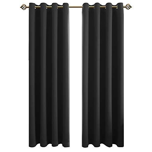 FLOWEROOM Blickdichte Gardinen Verdunkelungsvorhang - Lichtundurchlässige Vorhang mit Ösen für Schlafzimmer Geräuschreduzierung Schwarz 240x132cm(HxB), 2er Set