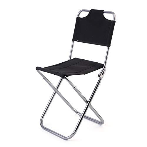 YUIO OUTAD Rückenlehne Leichter tragbarer Klappstuhl Oxford Aluminium Stuhl Hocker Sitz zum Camping Angeln mit Kordelzug Tragetasche (schwarz)