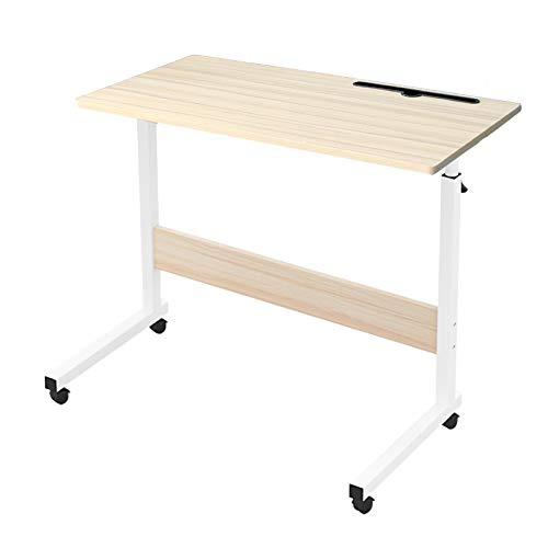 Novhome Tavolino Computer con Ruote, 80 x 40 cm Scrivania Portatile Regolabile in Altezza Porta pc Supporto Notebook per Letto Divano Ufficio