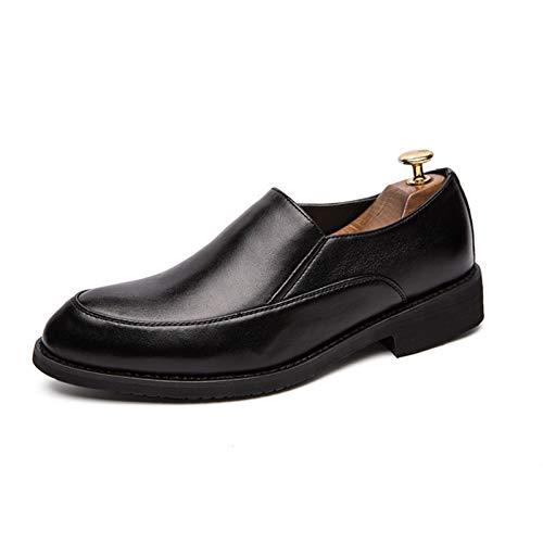 L-YIN Negocio Slip-Ons para Hombres Redondo Moc Toe Llano Lucheras Elásticos Bloque de Cuero sintético Tacón de Goma Sole sólido Color Sólido Zapatos Black (Color : Black, Size : 39 EU)