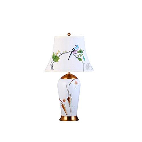 QX IAIZI witte keramische bureaulamp, dimbare oogbescherming, creatieve handgeschilderde bloemen en vogels, de lamp leren