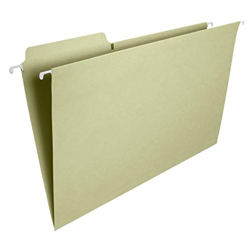 Smead FasTab Hanging File Folder, 1/3-Cut Built-in Tab, Legal Size, Moss, 20 per Box (64083)
