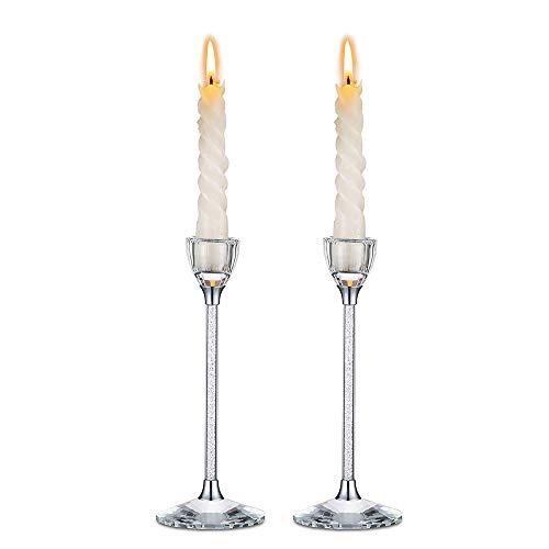Nuptio 2 Stück Kristallglas Kegel Kerzenhalter, Kerzenständer, Kerzenhalter für Kegel Kerzen, Hochzeitsfeier Esstisch Home Centerpieces Dekorationen Geschenk, Weihnachtskerzenhalter