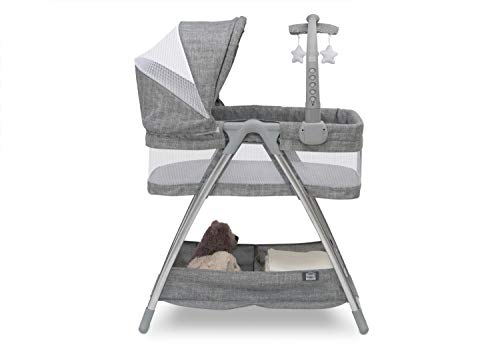 Simmons Kids City Sleeper Bedside Bassinet Portable Crib - Activity Mobile Arm with Nightlight, Vibrations, Twinkle Lights and Rotating Stars, Grey Tweed