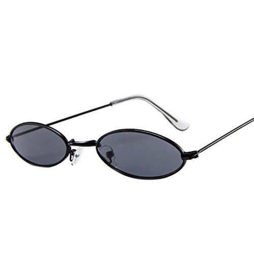 VENMO Mode Herren Retro kleine ovale Sonnenbrille für Damen Metallrahmen Shades Brillen Katzenauge Metall Rand Rahmen Damen Frau Mode Sonnebrille Gespiegelte Linse Women Sunglasses (A)