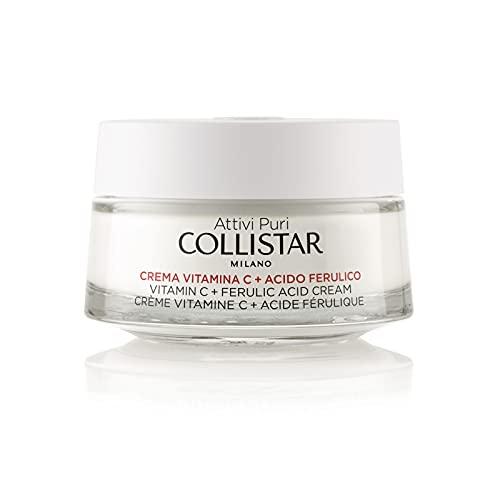 Collistar Attivi Puri Creama Vitamina C + Acido Ferulico, Crema viso evanescente per un'azione illuminante antiossidante, Difende dagli stress ossidativi, per tutti i tipi di pelle, 50ml