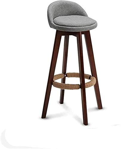 Sgabelli da Bar in Legno massello fatti a Mano girevoli a 360 gradi, sgabello da Bar in Cotone Imbottito per Bar Home 915 (Colore: Graya)