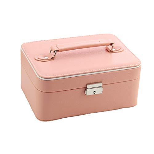 Joyero de piel sintética con cerradura de doble capa portátil para joyas, caja de almacenamiento simple para joyas (color: rosa)