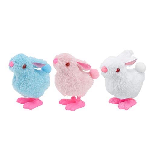 TOYANDONA 3 Piezas de Juguete de Cuerda de Conejo de Peluche de Juguete Saltarín Juguetes Novedosos Juguetes para Caminar de Animales de Mecanismo para Bolsa de Mercancías Cesta de Juguete