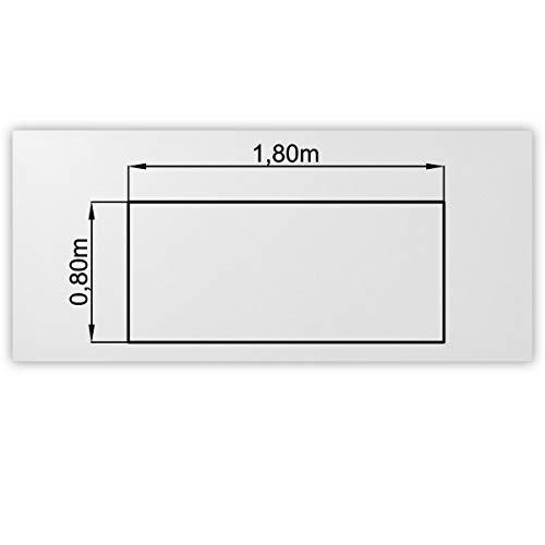 Bümö® stabile Tischplatte 2,5 cm stark - DIY Schreibtischplatte aus Holz | Bürotischplatte belastbar mit 120 kg | Spanholzplatte in vielen Formen & Dekoren| Platte für Büro, Tisch & mehr (Rechteck: 180 x 80 cm, Weiß)