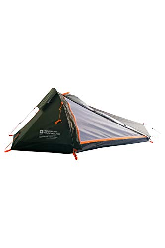 Mountain Warehouse Backpacker 1 Man Tent- Waterproof at 2,000 mm, Lightweight, With Porch Storage Area & Flysheet Pitch First. Great for Camping, Solo Travelling, Festivals Green