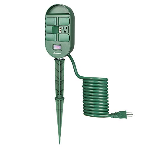DEWENWILS Outdoor Power Strip Stake, Weatherproof Yard Stake Switch,6 Grounded Outlets with Protective Cover, 10 Ft Long Extension Cord, Overload Protection, 1875W/15A UL Listed