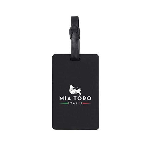 Mia Toro Rubber Name Luggage Tag, 25 cm, Black
