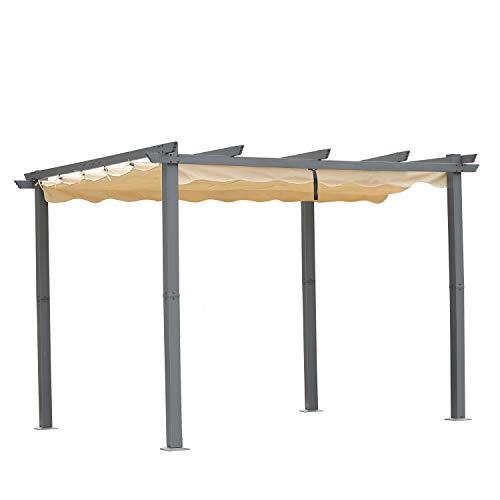 Angel Living [Actualizado] Pérgola de Aluminio con Techo Retráctil, Pabellón con Diseño Elegante, Cenador con Tela de Poliéster Resistente al Agua y a UV, Uso para el Exterior (3 x 3, Beige)