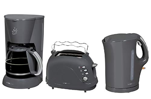CLATRONIC Frühstücksset 1,7 Liter Wasserkocher + 1,5 L Kaffeemaschine + 2-Scheiben Toaster Grau