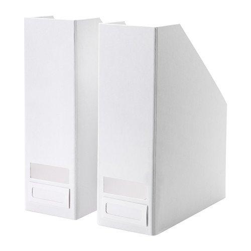 Set of 2 Ikea Tjena Magazine File Organizer Storage (White)
