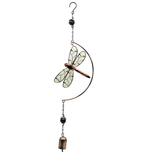 Garneck Luminoso campanelli eolici sospesi all'aperto Coperta a Forma di Libellula Campana Vento Ornamenti per la casa Auto Decorazione Regalo di Compleanno