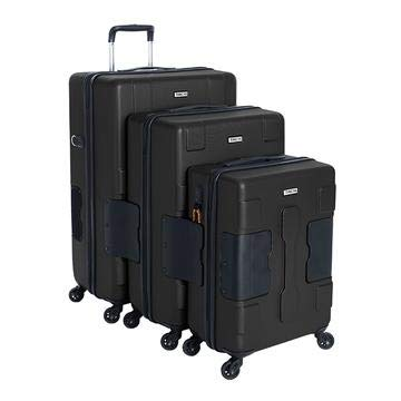 TACH V3 Hard Shell 3 Piece Luggage Set - 22, 24 & 28 inch Luggage | Carry On, Medium & Large Checked Suitcases | Patented Built-in Connecting System | Rolling Suitcase Links 6 Bags - in Black