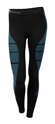 Stark Soul Women's Functional Thermal Underwear Breathable Active Base Layer Set (Pants/Black-Turquoise, L/XL)