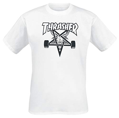 THRASHER Skategoat Camiseta, Unisex Adulto, White, M