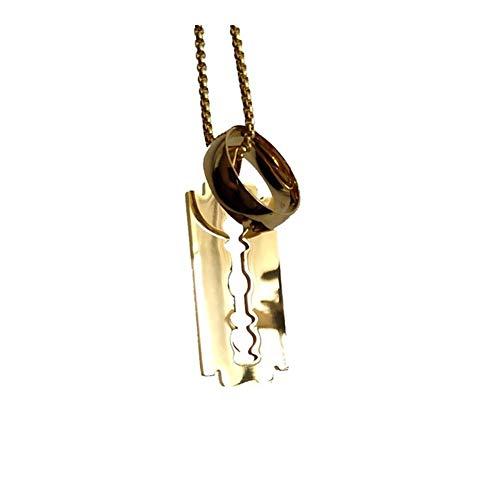 Présent Pendentif Acero inoxidable 316L de oro colgantes de los hombres collar 316L placas de identificación de la cadena collar for hombre de joyería y accesorios ( Metal Color : Gold 8MM Arc )