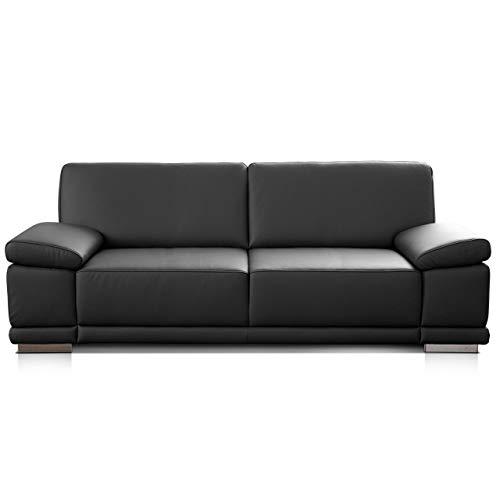 CAVADORE 2,5-Sitzer Sofa Corianne in Kunstleder / Kleines Leder-Sofa in hochwertigem Kunstleder und modernem Design / Mit verstellbaren Armlehnen / 191 x 80 x 99 / Kunstleder schwarz