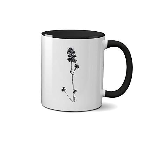 Agastache Blue Fortune Rugosa Blue Fortune hand draw art Weiße Tasse schwarzer Griff Cup Keramik Geschenk-Kaffee-Tee