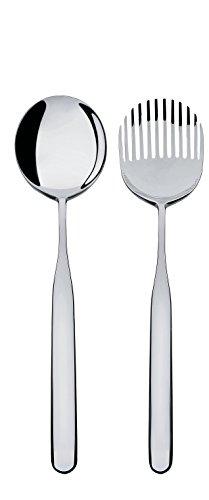 Alessi Collo-Alto, Salatbesteck aus Edelstahl 18/10 glänzend poliert, Silver, 26.5x3x8 cm
