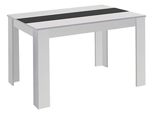 HOMEXPERTS Esstisch NICO / Küchentisch 160 cm / Esszimmertisch / Tisch in weiß / Wendeplatte in der Mitte wahlweise Schwarz oder Weiß / 160 x 90 x 75 cm (L x B x H)