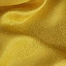 Pukido Chinese Traditional Jacquard Brocade Silk Cotton Fabric Charmeuse - (Color: Brilliant Yellow)