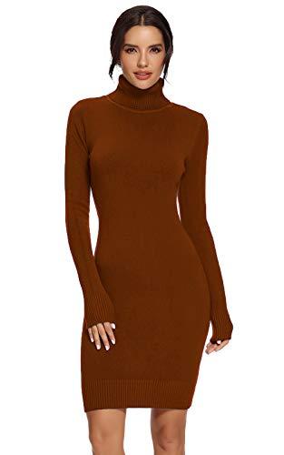 Avacoo Damen Kleider Strick Pulloverkleid Elegant Strickkleid Rollkragen Langarm Tunika Kleid Midikleid Karamel M 38