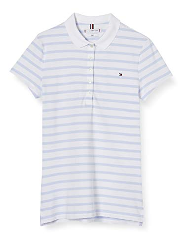 Tommy Hilfiger Damen Short Sleeve Slim Polo Stripe Hemd, Blau (We Breton STP Bliss Blue), L