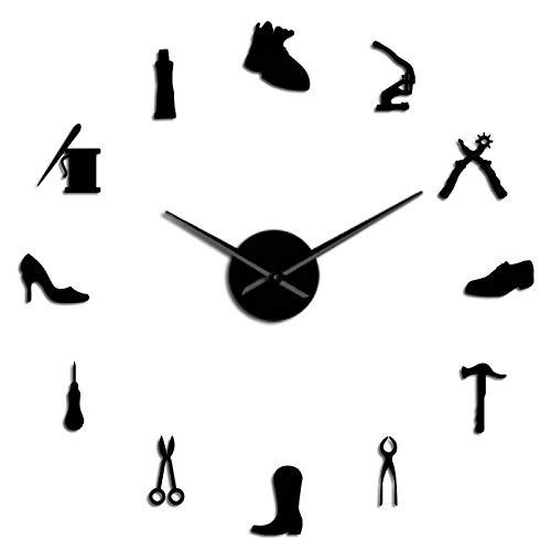 Reloj de Pared de Bricolaje Zapatero Zapatero Herramienta Profesión DIY Wall Clock Vintage Cobbler Tool Shoe Hammer Autoadhesivo Acrílico Espejo Reloj Pegatina 47inch