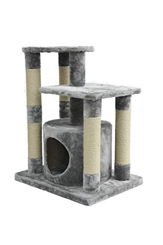 AmazonBasics Small Cat Tree Tower With Condo And Scratching Post - 26 x 19 x 31 Inches, Gray