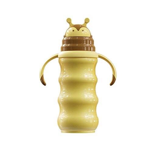SXYL Botella de bebé de Acero Inoxidable de Silicona de Grado alimenticio, Jarra de Leche de Aislamiento Multifuncional, Doble vacío, con Base Anti-Gota, Aspecto Lindo, Amarillo