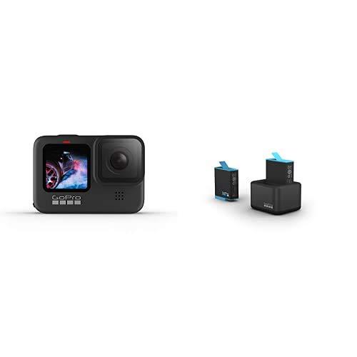 GoPro HERO9 Black - Cámara de acción Sumergible con Pantalla LCD Delantera y Pantalla táctil Trasera, sin Tarjeta + Cargador de batería Dual y batería