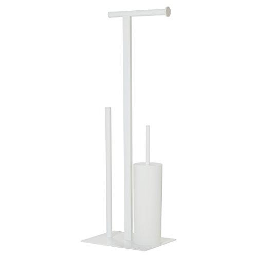 Sealskin Stand WC-Garnitur und Toilettenpapierhalter Square, WC-Butler aus Metall, Farbe: Weiß